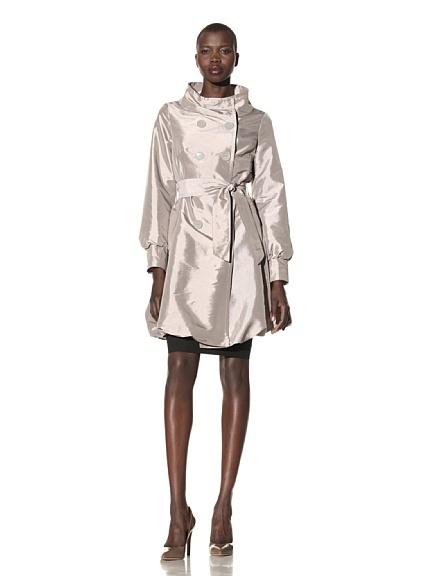 Shiny trench coat.: Trech Coats, Breast Bubbles, Double Breast, Subtle Sheen, Hemmings Trech, Coats Style, Trench Coats, Shiny Trench, Bubbles Hemmings