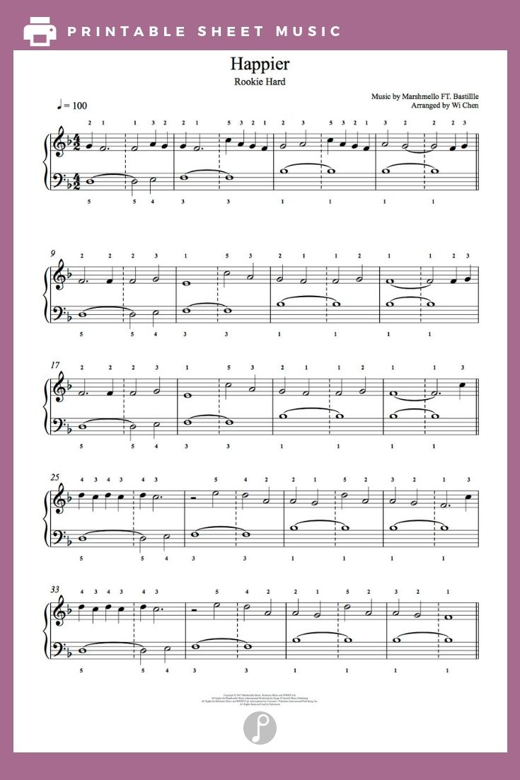 Happier By Marshmello Feat Bastille Piano Sheet Music Rookie