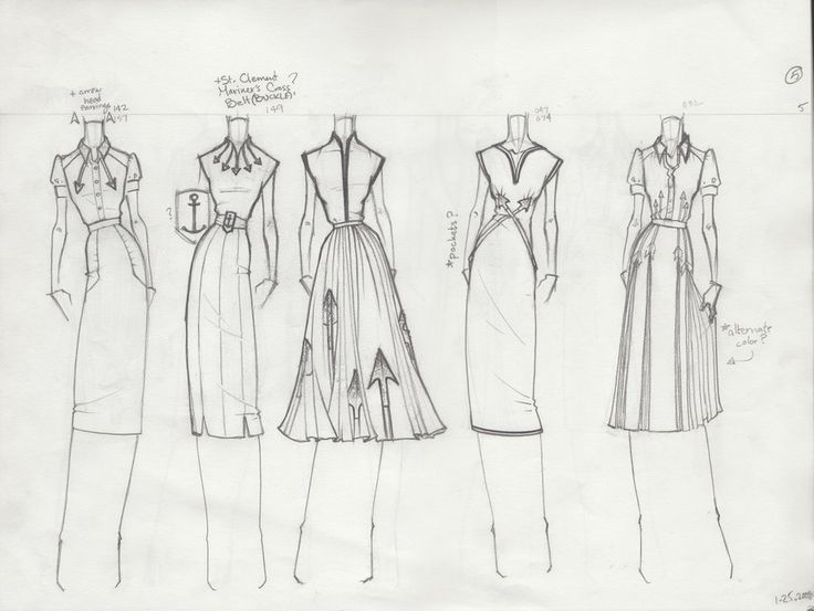 "Fashion Sketchbook - dress sketches with pleats & embroidery - fashion design drawings; fashion portfolio // Jacob ""TheBocaj"""