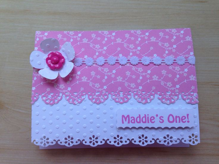First Birthday Card - Katie's Kards handmade with love. One year old pink girl card