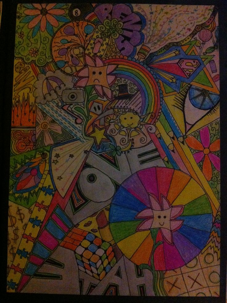 Coloured A4 zentangle
