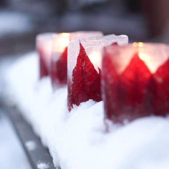 poinsettia ice lanterns