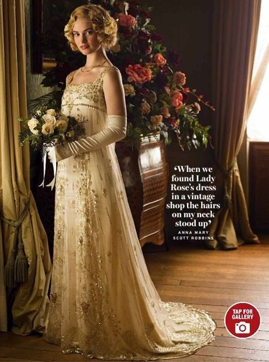 Lady Rose - Dressed in her very feminine lace Wedding Gown - season five Downton Abbey I love the short curl hair style too.