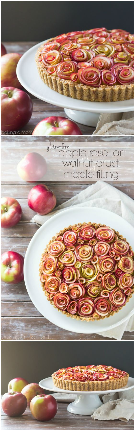 Your guests will be wowed by this gorgeous apple tart of roses with a toasty walnut crust and a silky sweet maple custard filling. And it's gluten-free!