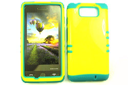 MOTOROLA DROID MAXX ULTRA CASE PEARL YELLOW BG-A022-AY HEAVY DUTY HIGH IMPACT HYBRID COVER BLUISH GREEN SILICON XT1080
