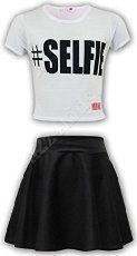 Kids Girls #SELFIE Crop Top & Fashion Skater Skirt Set 7 8 9 10 11 12 13 Year._.