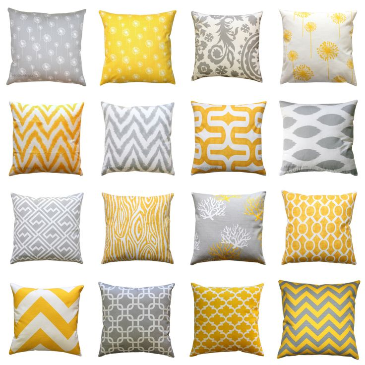 Throw Pillow Cover, Yellow and Grey Pillows, Mix & Match, 14x14 Yellow Pillow Case, Zippered Pillow, Decorative Couch Pillows by ModernalityHomeDecor on Etsy https://www.etsy.com/listing/71788055/clearance-throw-pillow-cover-yellow-and