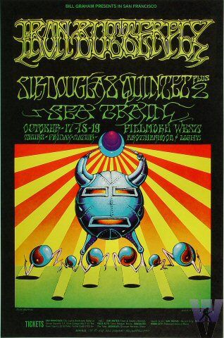 10/17-19/ 1968 .... Fillmore West ...   Iron Butterfly ...  Sir Douglas Quintet ... ... Sea Train     ....   artist ... RICK GRIFFIN ... & ... VICTOR MOSCOSO