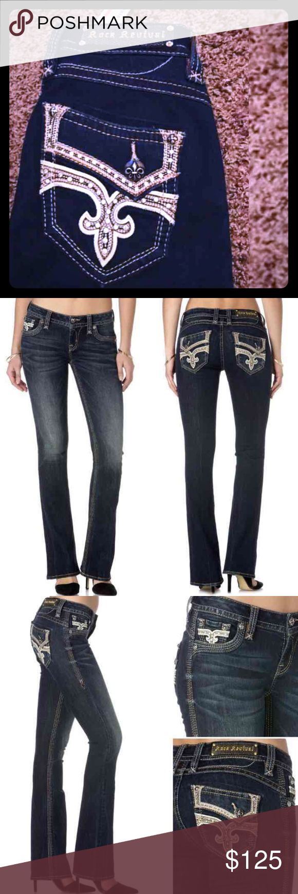 """⚡NWT Rock Revival BARBY Low-Rise Boot Cut Jean⚡ ⚡️1 DAY SALE⚡️= Price Firm 🚫NO OFFERS ACCEPTED🚫 Items will be shipped out Same or Next Day. 💯% AUTHENTIC NWT Rock Revival """"BARBY B400"""" Low-Rise Boot Cut Jean  Style #: PR1050B400 Size: 25 Inseam: 33""""  DETAILS: -Zip fly w/button closure -5 pocket construction -Fading and whiskering at thighs -Rhinestone and embroidered details  🎉Available thru Ⓜ️=$100 FREE SHIP💋 👍REASONABLE OFFERS  🚫NO LOW BALLING🚫 Any other questions please ask feel…"""