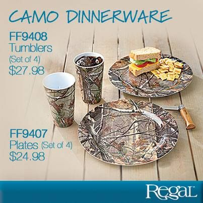 """CAMO DINNERWARE - PLATES (SET OF 4) From camping to picnics and everything in between, these camouflage-patterned plates and tumblers add just the right rustic touch. Made from durable melamine that's dishwasher safe. Plate: 10-7/8""""Diam.; Tumbler: 16 oz. 5-3/4""""H. Both are available in sets of 4."""