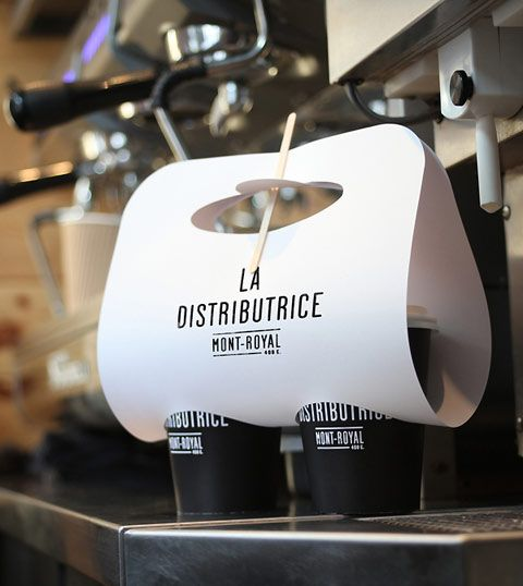 Branding for the smallest coffee shop in North America, LA DISTRIBUTRICE in Montreal. #branding
