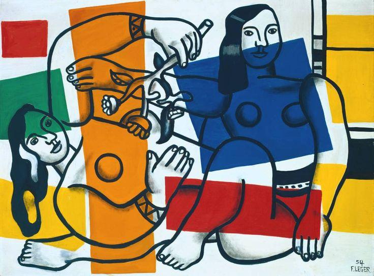 ¿Qué innovación propone Léger sobre el final de su carrera? La disociación entre la línea y el color: figuras y demás elementos de la obra están dibujados con gruesas líneas negras, y el color, decididamente independiente del dibujo, se reparte en distintas áreas de la tela. Imagen: Dos Mujeres Sosteniendo Flores (1954). Fernand Léger. 3 Minutos de Arte.