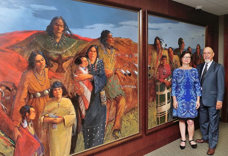 "ARAPAHO HOLY MAN PAINTING 'BACK HOME' AFTER 10-YEAR HIATUS ""This painting of an Arapaho holy man and his people brings back many emotions""... The Oklahoma City Federal Reserve branch commissioned the painting.. The Larsens were researching and capturing images of holy men – often called shamans – from each of Oklahoma's 39 federally-recognized tribes. ""A few of the tribes no longer had living holy men, so 36 paintings were completed,"" the artist noted."""