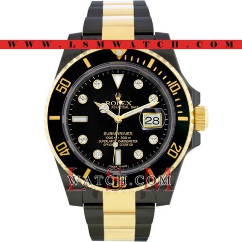 Other Watches 166739: Rolex Gold And Steel Pvd/Dlc Submariner Black Ceramic Diamond Watch - New 116613 BUY IT NOW ONLY: $17499.99