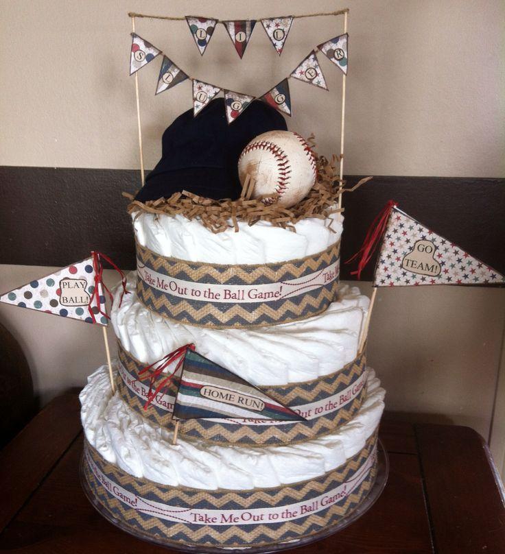 Vintage style, baseball diaper cake for baby boy shower.