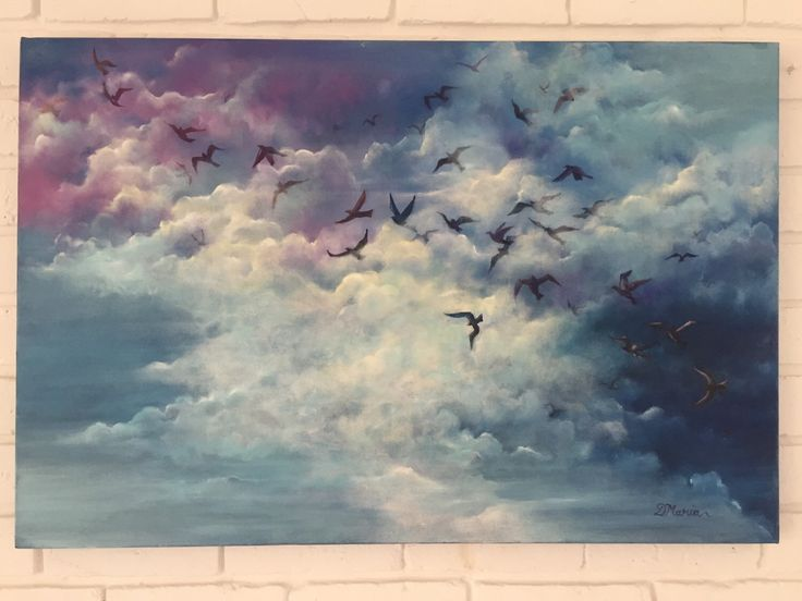 Birds flying oil painting. New painting for sale in our Etsy shop https://www.etsy.com/listing/264322258/original-oil-painting-birds-painting