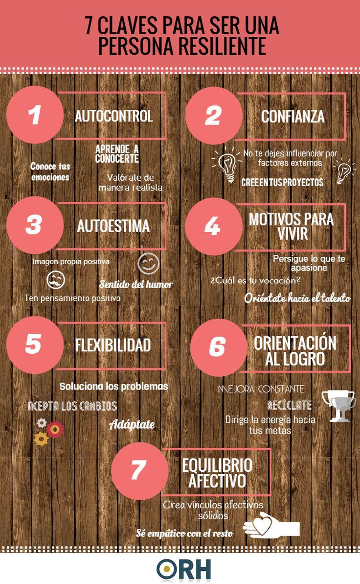 """""""7 Claves para Desarrollar una Personalidad Resiliente"""" #Resilencia #Infografía #EducaciónEmocional"""