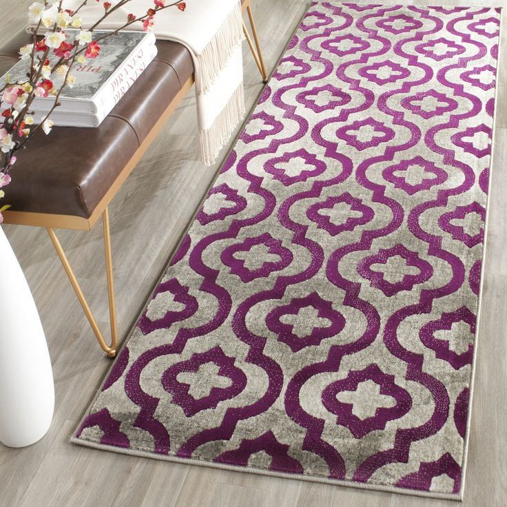 Safavieh Porcello Contemporary Geometric Light Grey/ Purple Rug (2u0027 4 X 9u0027)  , Size 2u0027 X 9u0027 (Polypropylene, Trellis)