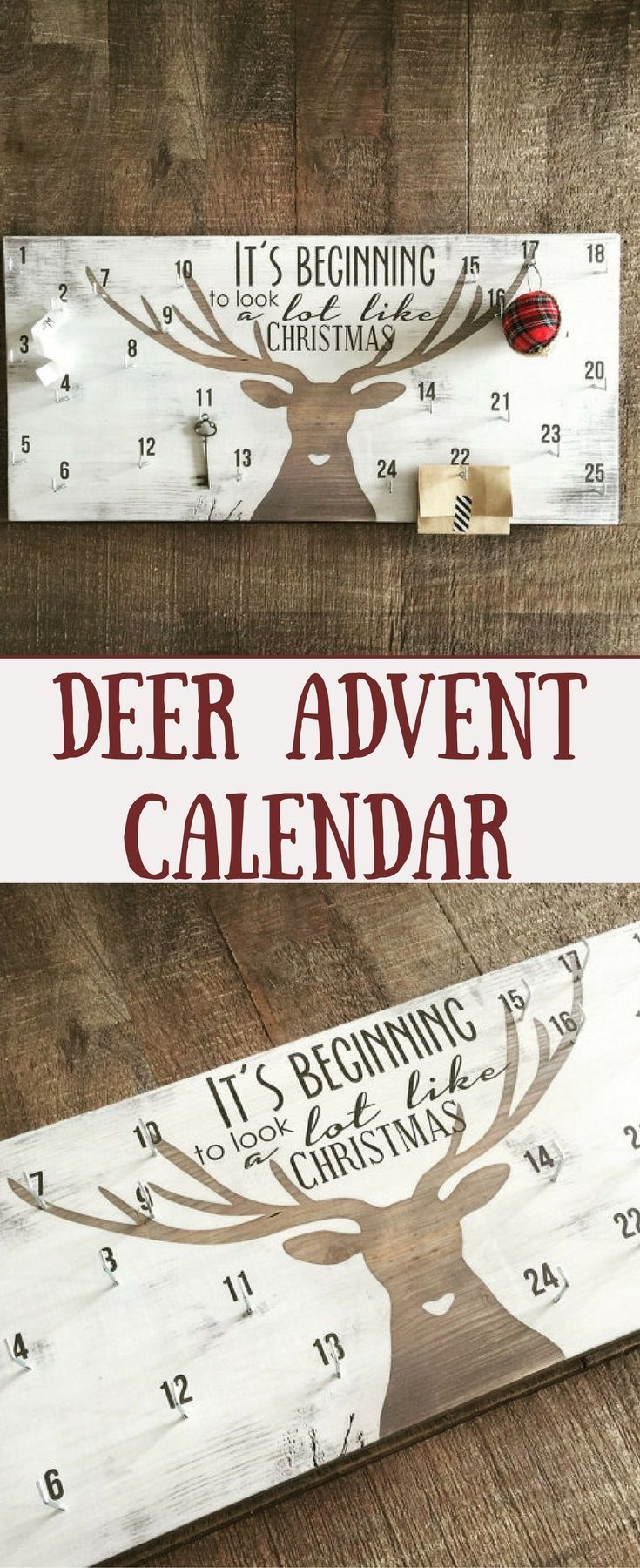 I think this would be neat if you used fillable christmas ornaments and did hot chocolate in them. Advent calendar, christmas countdown sign, deer antler decor #christmasdecor #ad #advent