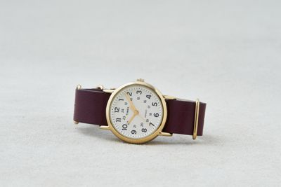 AEO x Timex Burgundy Leather Weekender™ Watch by  American Eagle Outfitters   Timex, one of America's best-known watch companies, has been dedicated to innovation and versatility since 1854 with fresh takes on mod style and functionality. Shop the AEO x Timex Burgundy Leather Weekender™ Watch and check out more at AE.com.
