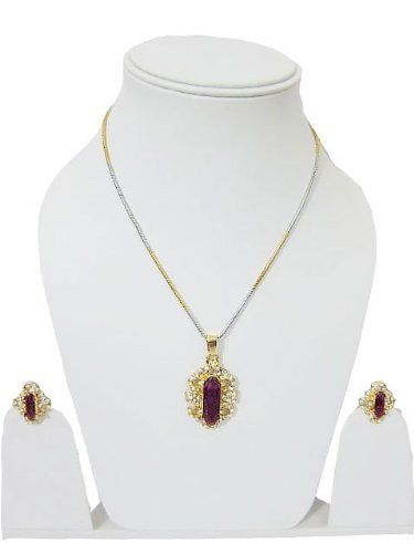 Fashion Jewelry Purple Crystal Necklace Set Earrings & Pendant Set Mogul Interior. $19.95. This stunning pendant features a deep purple crystal in the center complemented by brilliant cut round white stone, making a shape of a flower.. Pendants always make for a meaningful gift for a loved one & is usually an intricate piece of jewelry that adds style & flair to your personality, therefore selecting the right one is very important.. Be it birthday, wedding or ...