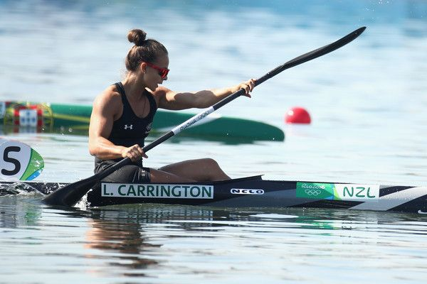 Lisa Carrington of New Zealand competes in the Women's Kayak Single 200m Heat 1…