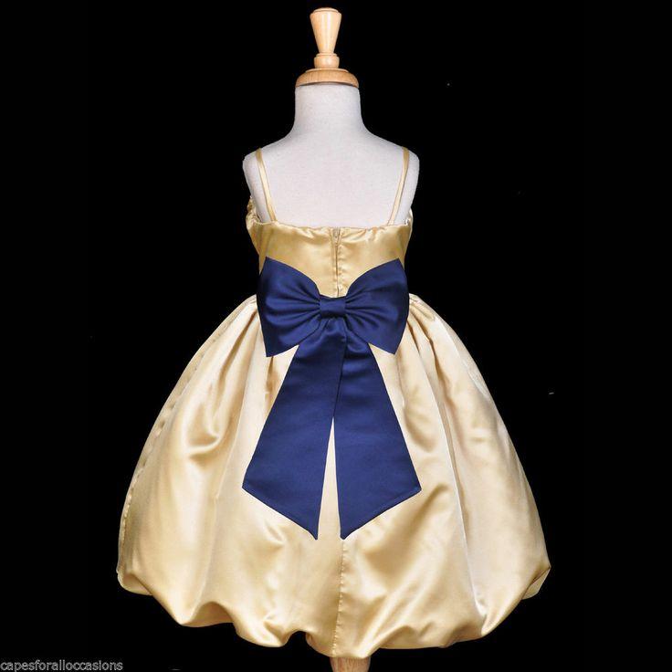 details about yellow gold navy blue wedding princess toddler flower girl dress 2 3 4 5t 6 8 10
