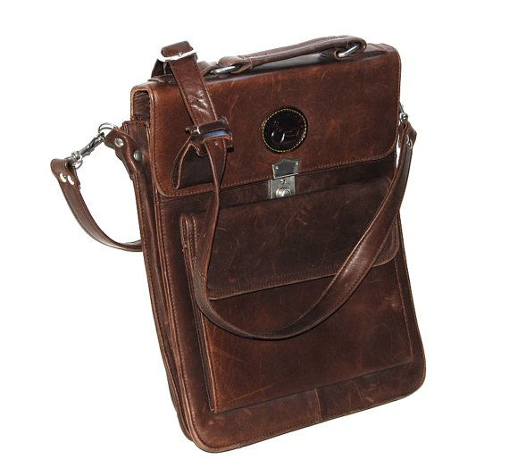80s leather brown satchel oversized  Organizer by chickantique, $67.00