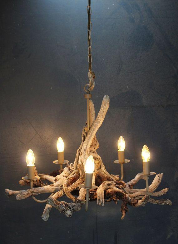 Driftwood chandelier, Driftwood Branch light Fitting, Five light chandelier with adjustable chain, Drift Wood Lighting - http://centophobe.com/driftwood-chandelier-driftwood-branch-light-fitting-five-light-chandelier-with-adjustable-chain-drift-wood-lighting/ -