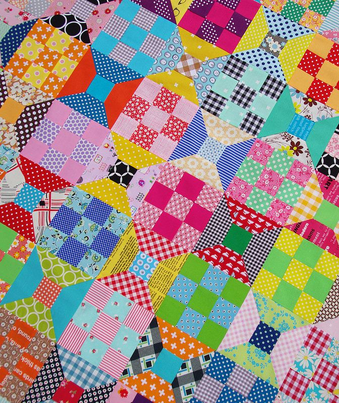 Red Pepper Quilts-Spools & Nine-patches-love the bright colors-I am not usually drawn to bright quilts but love this one-great way to use up scraps