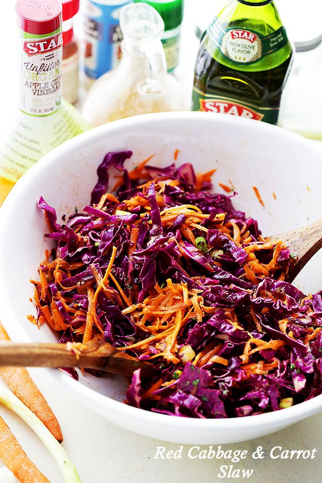 Red Cabbage and Carrot Slaw Recipe - Tossed with an incredible Apple Cider Vinaigrette, this tangy slaw is light, crunchy, refreshing, and serves perfectly as a side dish or even an appetizer. @diethood