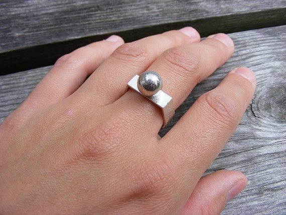 ON SALE silver ring with silver ball on by bvjewelry on Etsy, $64.00