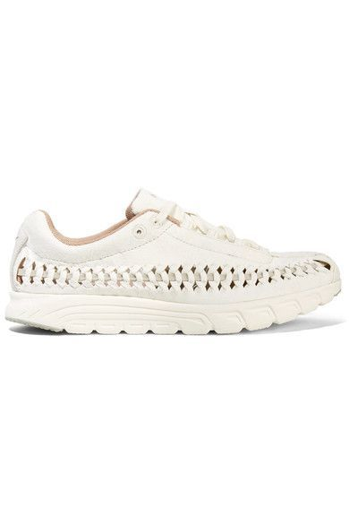 Nike - Mayfly Woven Leather-trimmed Faux Suede Sneakers - Off-white - US5.5