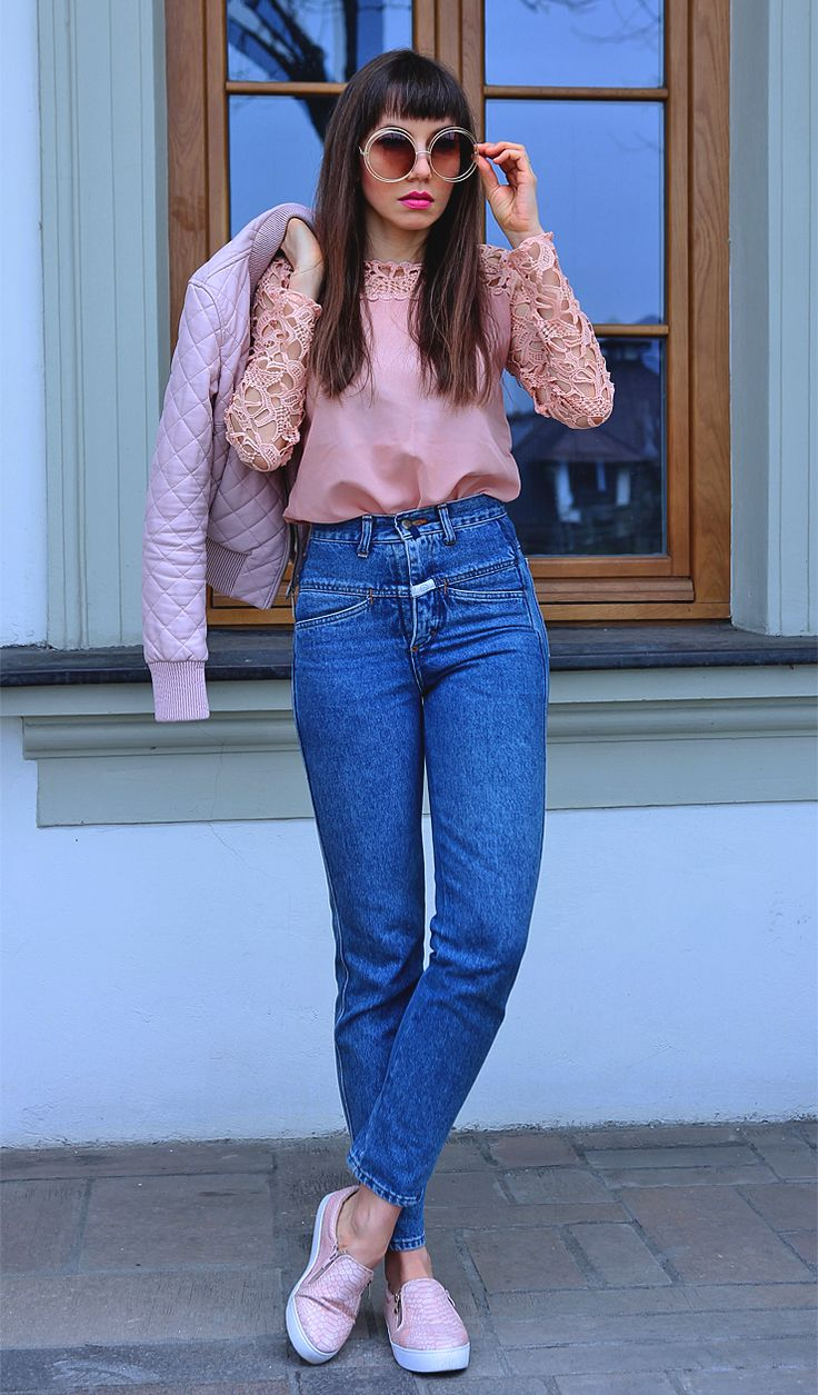 mom jeans and pastel pink lace top: https://jointyicroissanty.blogspot.com/2017/03/pastel-pink-and-mom-jeans.html