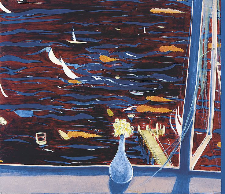 Westerly with Daisies (View of Lavender Bay) by Brett Whiteley c1974  oil on composition board