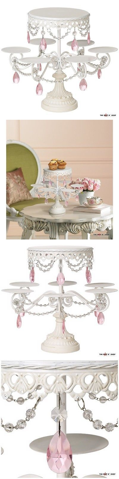 Wedding Cake Stands and Plates 102424: 2 Tier Cake Stand Crystal Pink Clear Beaded 6 Tray Cupcake Wedding Party Display -> BUY IT NOW ONLY: $69.99 on eBay!