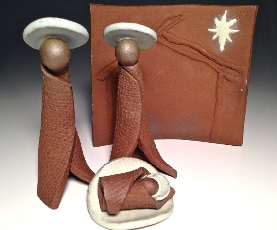 Handcrafted Pottery Nativity Set Stable Contemporary Manger Scene Handmade Modern Creche Unique Christmas Brown Clay Ceramic Collector Jesus