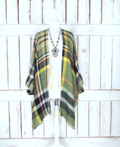 Green tartan plaid handmade woven fringe blanket kimono cover up/fall/winter flannel checker cardigan wrap/gypsy/boho ruana/one size by ThreeFeathersStudio on Etsy