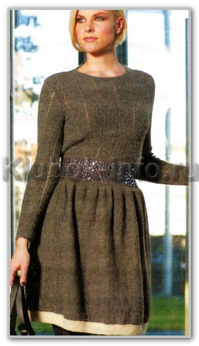 Вязание спицами. Облегающий джемпер и юбка средней длины на резинке. Размеры: S; М; L