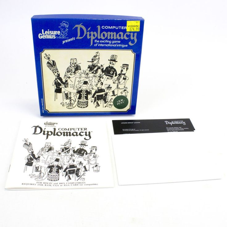 """Computer Diplomacy for PC 5.25"""" by The Avalon Hill Game Company, 1984"""