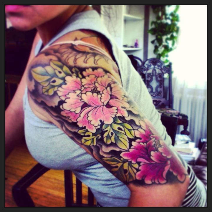 Japanese style peony half sleeve. This. I'm getting this.