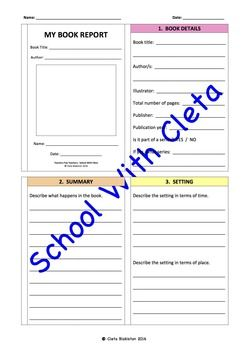 This is a book report that you can use for multiple age students and vary according it to your objectives.  Younger children have enough room to answer the information and older children have the challenge of effectively using brevity.  Each page contains part of the four pages of this booklet.