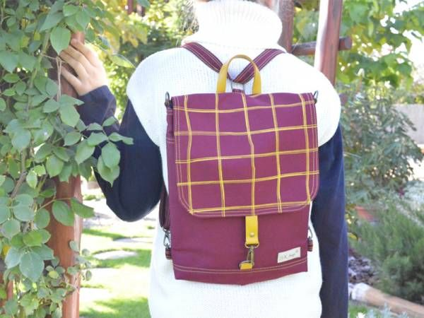 Handmade Canvas Backpack - Burgundy and Yellow Plaid Design