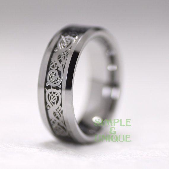 Anillo anillo de bodas para hombre dragón céltico por SIMPLEnUNIQUE