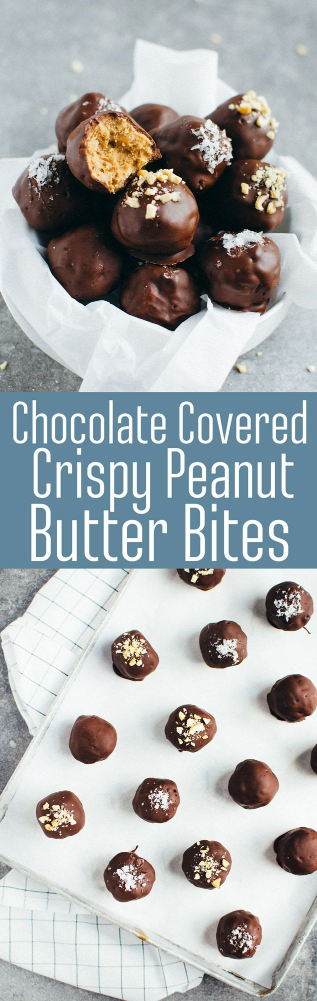 Chocolate Covered Crispy Peanut Butter Bites - Silky chocolate and naturally sweetened crispy peanut butter join together to make for a perfect sweet bite. (Vegan & GF) | RECIPE at http://NomingthruLife.com
