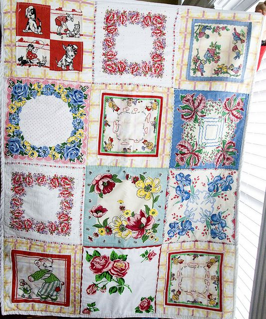Vintage Hankies Quilt: Vintage Hanky, Ideas, Quilts Patterns, Baby Quilts, Handkerchiefs Quilts, Vintage Hankie, Vintage Handkerchiefs, Hankie Quilts, Hanky Quilts