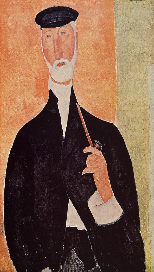 Man with a Pipe (The Notary of Nice) by @artmodigliani #expressionism