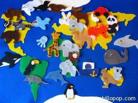 карта мира и животные из фетра выкройки игрушекhttp://shillopop.com/2014/09/23/karta-mira-i-silueti-zivotnih/