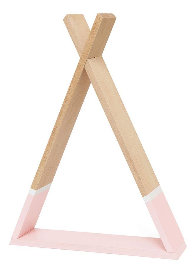 Kinderzimmer HolzWandregal Tipi natur/rosa 39x30cm