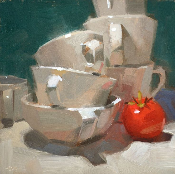 """""""Protecting the Tomato"""" Carol Marine's Painting a Day"""